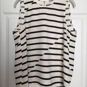 Madewell Black & Cream Striped Top - L